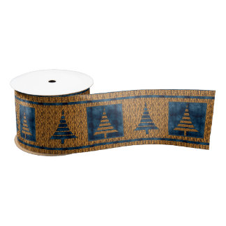 Three-Inch Tiger Print with Blue Christmas Trees Satin Ribbon