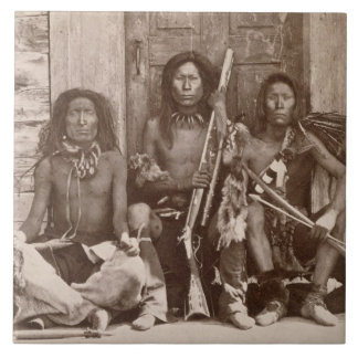 Three Indian Braves, photographed by the Royal Eng Large Square Tile