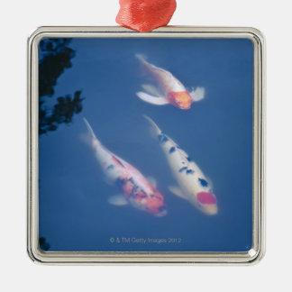 Three Japanese koi fish in pond Christmas Ornament
