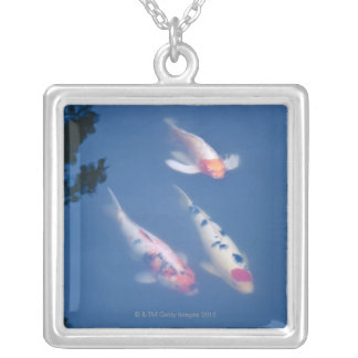 Three Japanese koi fish in pond Silver Plated Necklace