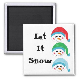 Three Jolly Faced Snowmen Square Magnet