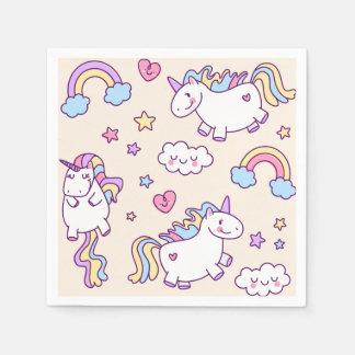 Three Kawaii chubby flying unicorns and rainbow Paper Napkin
