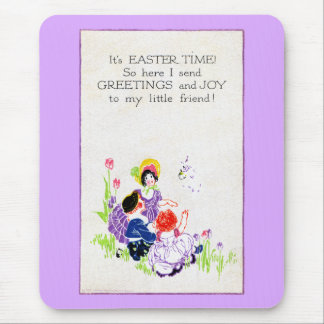 Three Kids and Tulips Vintage Easter Mouse Pad