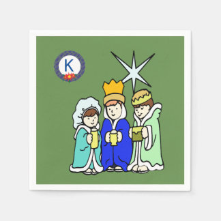 Three Kids as Wise Men and a Monogram Disposable Napkins