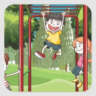 Three kids playing at the park square sticker