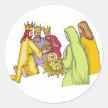 Three Kings Birth Christ Round Sticker