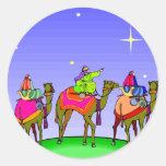 Three Kings Follow Christmas Star Round Stickers