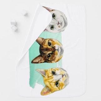 Three Kitties Watercolor Painting Baby Blankets