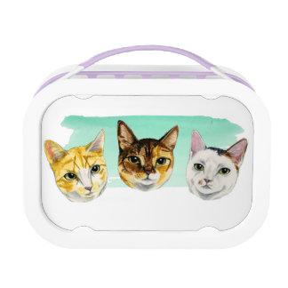 Three Kitties Watercolor Painting Lunch Box