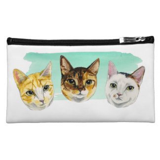 Three Kitties Watercolor Painting Makeup Bag