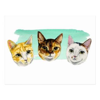 Three Kitties Watercolor Painting Postcard