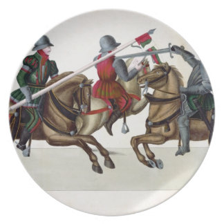 Three knights at a tournament, plate from 'A Histo