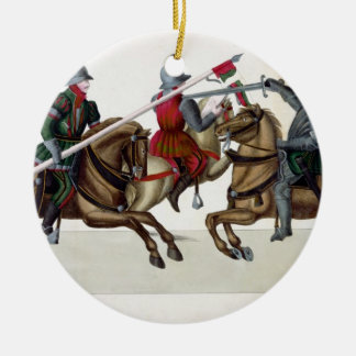Three knights at a tournament, plate from 'A Histo Christmas Ornament