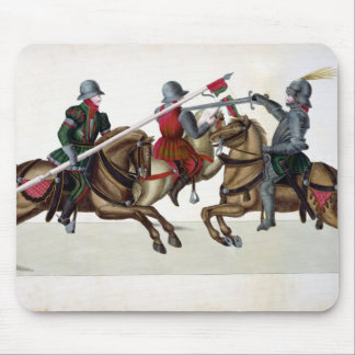 Three knights at a tournament, plate from 'A Histo Mouse Mat