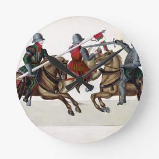 Three knights at a tournament, plate from 'A Histo Round Clock