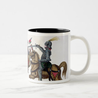 Three knights at a tournament, plate from 'A Histo Two-Tone Coffee Mug