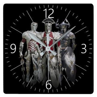 Three knights square wall clock