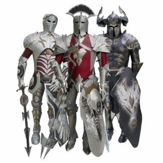 Three knights standing photo sculpture