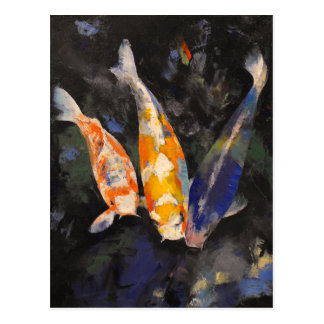 Three Koi Fish Postcard