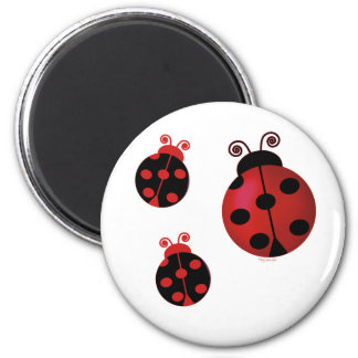 Three Ladybugs 6 Cm Round Magnet