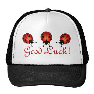 Three Ladybugs Red Orange Black Good Luck Trucker Hat