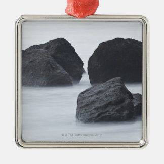 Three large boulders on Ruby Beach, Olympic Silver-Colored Square Decoration