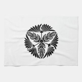 Three leaf chrysanthemums tea towel