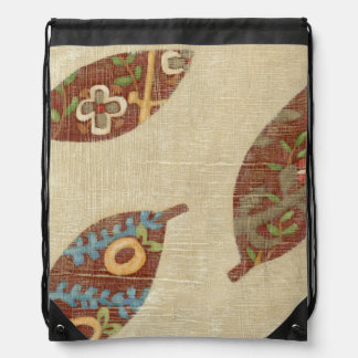 Three Leaves on Linen Texture Background Drawstring Bag