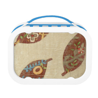 Three Leaves on Linen Texture Background Lunch Box