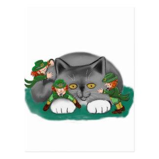 Three Leprechauns and a Kitten are Friends Postcard