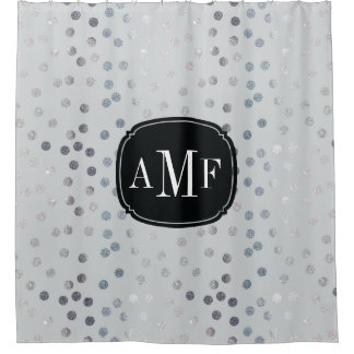 Three Letter Monogram Silver Glitter Dots on Gray Shower Curtain