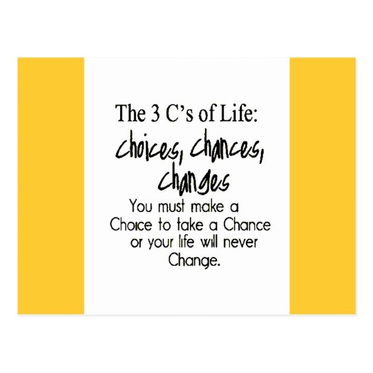 THREE LIFE CHOICES CHANGES CHANCES options Postcard
