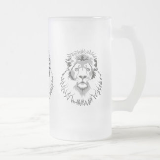 Three Lions Frosted Glass Beer Mug
