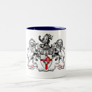 Three lions heraldry football tees and gifts Two-Tone coffee mug
