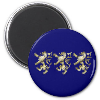 Three lions shaded gifts 6 cm round magnet
