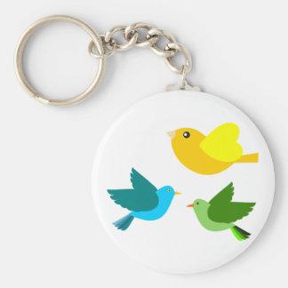 Three Little Birds Basic Round Button Key Ring