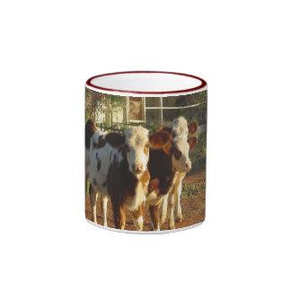 Three Little Calves Ringer Mug. Ringer Mug