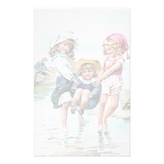 Three Little Girls Playing at the Beach Customised Stationery
