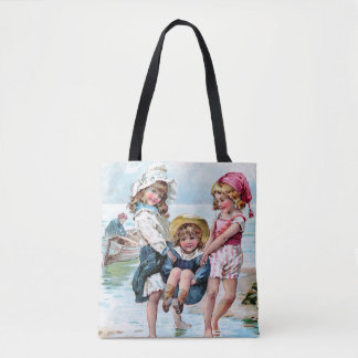 Three Little Girls Playing at the Beach Tote Bag