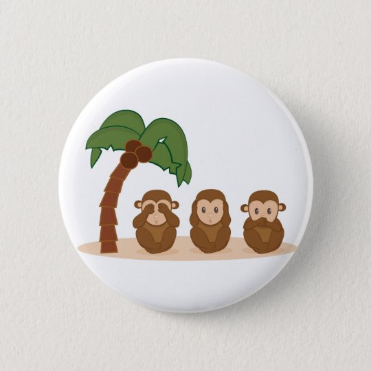 Three little monkeys - three macaquinhos 6 cm round badge