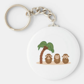 Three little monkeys - three macaquinhos basic round button key ring
