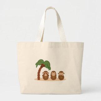 Three little monkeys - three macaquinhos jumbo tote bag