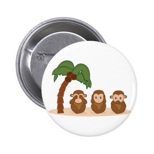 Three little monkeys - três macaquinhos 6 cm round badge