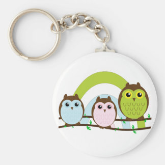 Three Little Owls Basic Round Button Key Ring