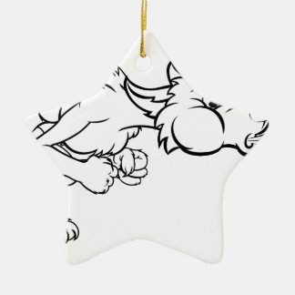Three Little Pigs Big Bad Wolf Blowing Christmas Ornament