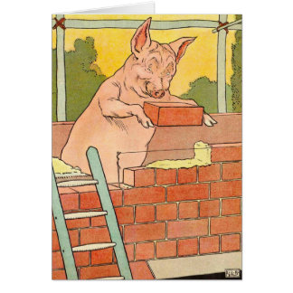 Three Little Pigs: Bricks to Build a House Card