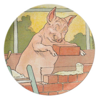 Three Little Pigs: Bricks to Build a House Plate