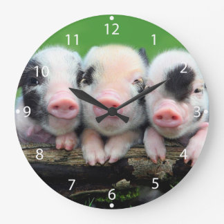 Three little pigs - cute pig - three pigs large clock