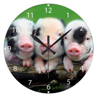 Three little pigs - cute pig - three pigs large clock