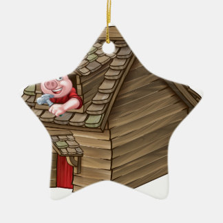 Three Little Pigs Fairy Tale Straw House Christmas Ornament